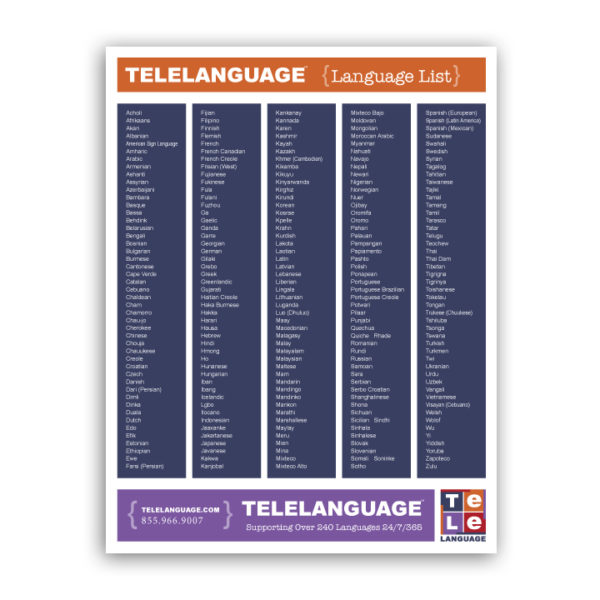 Free language list for telephonic interpretation | 200 most requested languages